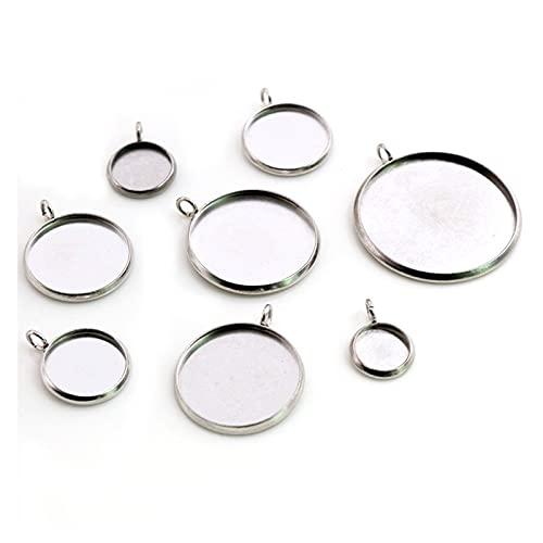 JSJJAWA Accesorios de joyería 8/10/12/14/16/18/20/25 mm tamaño interior acero inoxidable simple estilo cabujón base colgante colgante bandeja (tamaño: 12 mm x 20 piezas)