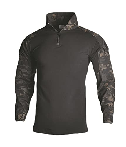 HARGLESMAN Mens Combat Military Army Tactical Top Shirts Long Sleeve Comfortable Soft Breathable Quick Dry Snug Fitting T Shirt Work Training Airsoft Black Camo S