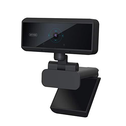 Tonquu Full HD Webcam 1080P, 5 Millionen Pixel, Autofokussierung, Web-Kamera mit Mikrofon für PC Laptop Desktop, 30 fps Bildrate, verstellbar, Nicht Null, Schwarz, Free Size