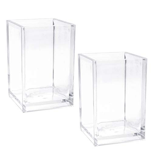 SBYURE 2 Pack Clear Acrylic Pen Holder,Makeup Brush Storage Organizer,Non Breakable Pencil Cup Desktop Stationery Organizer for Office School Home Supplies