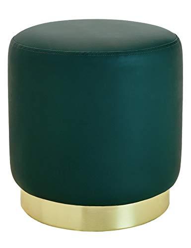 Suhu Pouf Sgabello Poggiapiedi in Ecopelle Poggiapiedi da Divano Moderno Imbottita Similpelle Rotondo Base Dorata Moderno Basso Design Verde