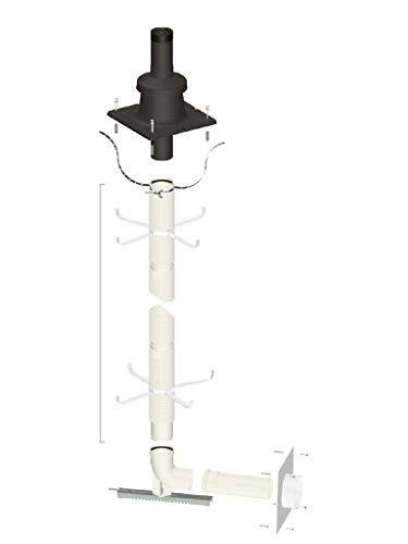 Abgaspaket Schachtpaket 10 m DN 80 mit Zuleitung Flexrohr Smartflex