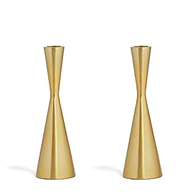 2 Brass Finished Taper Candle Holders, 7.5 Inches, Metal, Hourglass Shape, Fits ALL Standard Size Candlesticks