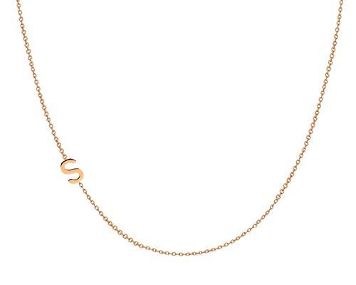 14k Gold Asymmetrical Initial Necklace, Zoe Lev Jewelry, Side Initial Necklace, Gold Sideways Letter Necklace