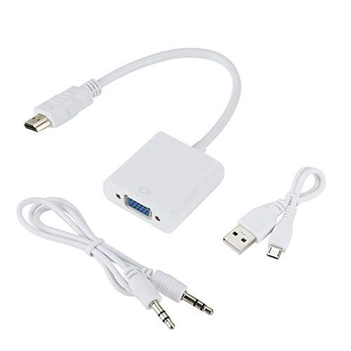 Nsdsb Cable De Conversión De Hdmi A Vga con Fuente De Alimentación USB Cable Adaptador De Hdmi A Vga Blanco