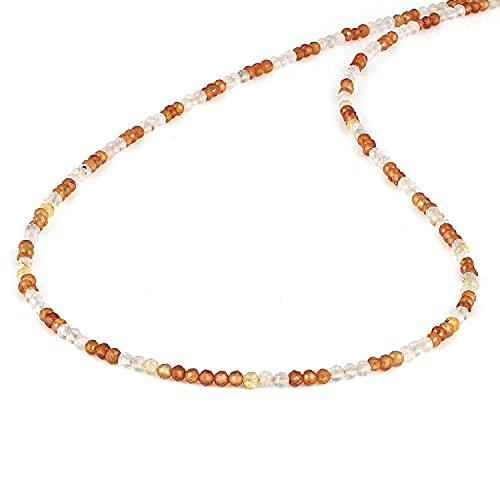 NirvanaIN - Collar de cuentas de piedras preciosas talladas de granate y oro para mujer (2-2.5 mm) con cierre de chapado en oro amarillo de plata 925 (45 cm)
