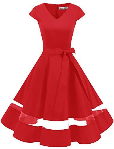 Gardenwed 1950er Vintage Retro Rockabilly Kleider Petticoat Faltenrock Cocktail Festliche Kleider Cap Sleeves Abendkleid Hochzeitkleid Red 2XL