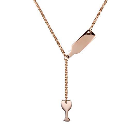 N/X Kreativer Schmuck Titan Stahl Weinglas Flasche Halskette Damen Edelstahl Anhänger Halskette Accessoires grenzüberschreitend exklusiv