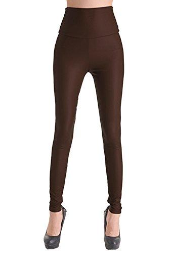 PLAER Nieuw Heet! Dames hoge taille lederen legging - potlood leren broek (Azië S, donkerbruin)