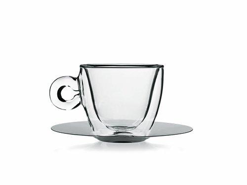 Luigi bormioli Thermic Glass, Confección tazas de Tè o Capuchino con Plato Borosilicato, Vidrio, Transparente, 2 Piezas