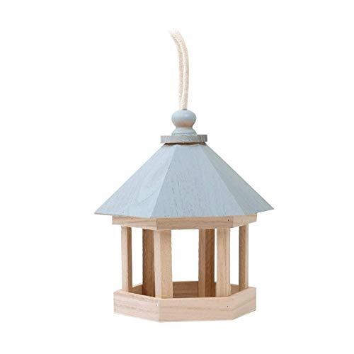 PULLEY Jaula de madera para pájaros con forma hexagonal, comedero para pájaros, apto para decoración de jardín (azul)