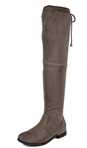 DREAM PAIRS Damen Wildleder Overknee Stiefel mit Flache Upland Khaki Größe 6.5 US / 37.5 EU