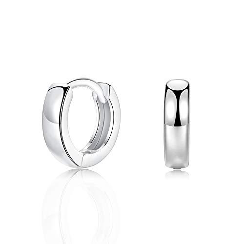 ADVIOK Small Silver Hoop Earrings, 925 Sterling Silver Post Lightweight Sleeper Hoops Earring Silver Earrings for Women Girls Men Gifts Diameter 11mm Thickness 3mm