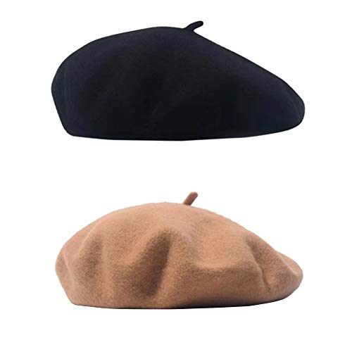 SIEBENEINSY Klassische Baskenmützen Damen Wollmütze französischer Hut Damenmütze Baske Beret Cap 2pcs Beanie Maler Kappe, Farbe: Schwarz&Kamel, Size One size