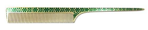 Swedish Crown Peigne professionnel en aluminium - 21 cm (antistatique) - Doré/vert - Avec denture uniforme (2252-3)