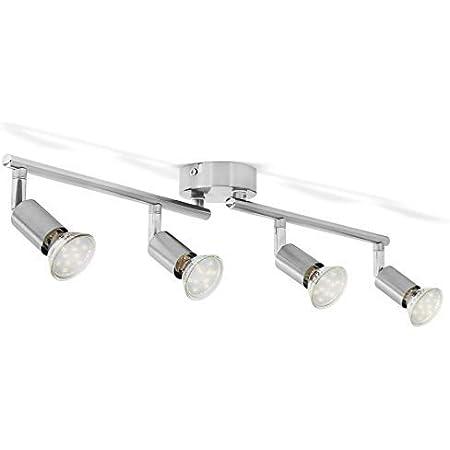 B.K.Licht plafonnier LED 4 spots pivotants & orientables, 4 ampoules LED 3W GU10, barre spots plafond salon salle à manger cuisine couloir, 2 bras tournants, lumière blanche chaude