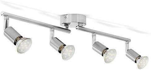 B.K.Licht plafonnier LED 4 spots pivotants & orientables, 4 ampoules LED 3W GU10, barre spots plafond salon salle à m...