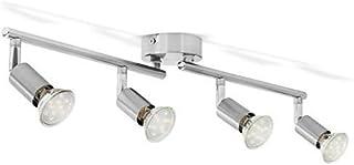 B.K.Licht - Lámpara de techo con 4 focos LED GU10, focos ajustables y giratorios para interiores, de luz blanca cálida, 3W...