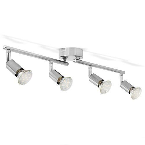 B.K.Licht I 4-flammige LED Deckenlampe I 4x 3W Leuchtmittel GU10 I 4x 250lm I dreh- schwenkbar I IP20 I 3000K warmweiß I Matt-Nickel