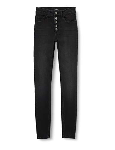 ONLY Damen Onlblush Hw Button Sk Rea1099 Noos Jeans, BlackDenim, M / 34L