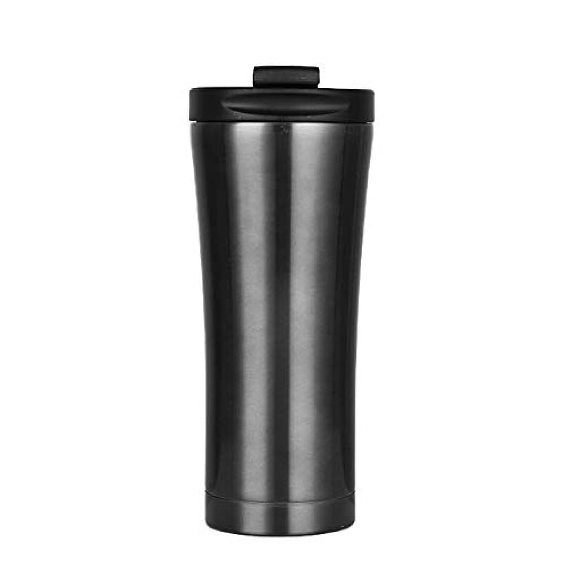 ポーク多分突撃ティーカップコーヒーカップ ステンレス鋼タンブラーコーヒーマグ17オンス二重壁真空旅行マグでこぼれ防止蓋水ドリンクカップ500ミリリットル 完璧な贈り物 (Capacity : 500ML, 色 : ブラック)