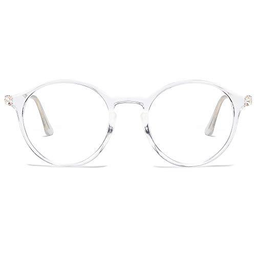 SOJOS SJ5069 - Gafas de luz azul ultraligeras y transparentes, diseño retro, Marco de vidrio C7/templo dorado, Tiny