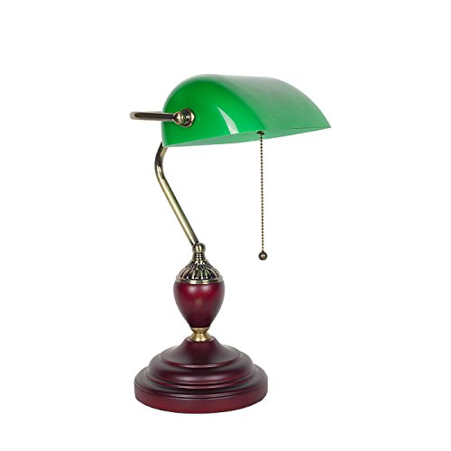 ZWL Retro The Republic of China Green Bank Light Lampe de bureau en bois massif, lampe de bureau Lampe de chevet Lampe de chevet Étude de salon Éclairage décoratif E27 Lampe de table 23 * 42CM fashion.z ( taille : 23*42CM )