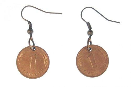 1 Pfennig Münze Ohrringe Miniblings BRD Mark Geld D-Mark Glückspfennig Glück