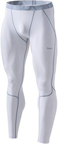 TSLA DRST Dri Fit Kompressionsunterwäsche Aktive Workout Sport-Leggings für Herren, Unique Mup39 1pack - A White, L