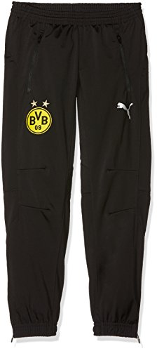 PUMA Kinder BVB Poly Pants Jr 2 Side Pockets Zip with elastica Hose, Black, 176