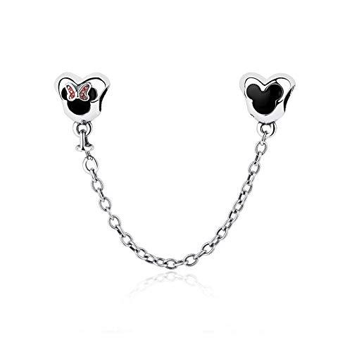 NINGAN Cadenas de seguridad con forma de corazón y ratoncito, de plata de ley 925, compatible con pulseras y europeas
