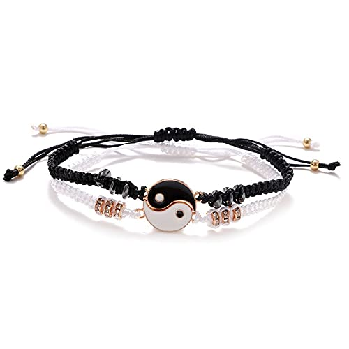 2 pulseras de cordón ajustable Yin Yang a juego para amistad, novio, novia, mejor amigo, pulseras trenzadas hechas a mano para mejor amigo con tarjeta de regalo
