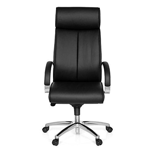 Preisvergleich Produktbild hjh OFFICE 724580 Bürostuhl Chefsessel Santana Kunstleder-Bezug,  Schwarz,  ergonomischer Schreibtisch-Stuhl mit Armlehnen in Chrom und Kopfstütze,  Drehstuhl,  Sessel,  gepolstert