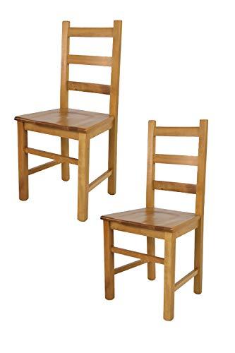 Tommychairs - Set 2 sedie modello Rustica per cucina bar e sala da pranzo, robusta struttura in legno di faggio color rovere e seduta in legno