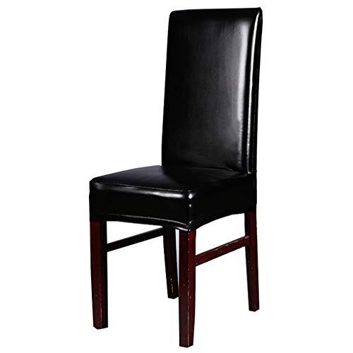 Inroy PU Fundas para sillas Artificial Estiramiento Silla de Cuero Protector,Resbalones de Asiento universales Impermeables y Resistentes al Aceite (4-Piezas, B-Negro)