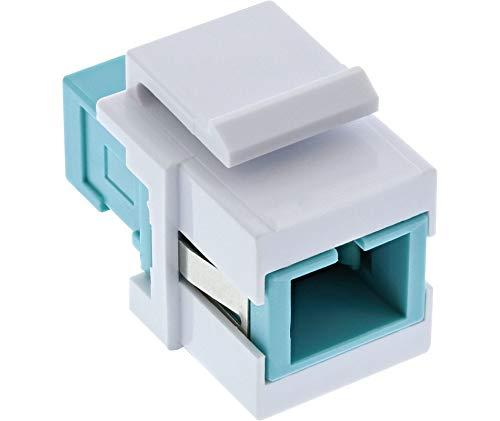 InLine 89988F LWL Keystone Snap-in Kupplung weiß, Simplex SC/SC, multimode, türkis, Keramik-Hülse