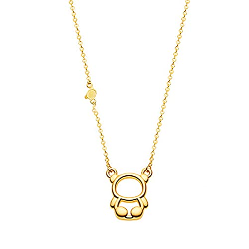 YJZW Personalizadas Collar Oro Puro 999 Adjustable De Colgante De Oso Largo 45 Cm Regalo Accesorios