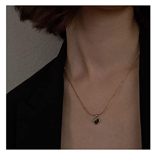 Collar Mujer Collares Temperamento Femenino Tendencia Simple Diseño de Moda Amor de Titanio Acero No desvanecimiento Clavícula Clavícula Collares para Mujeres Collar Colgantes (Color : Black)