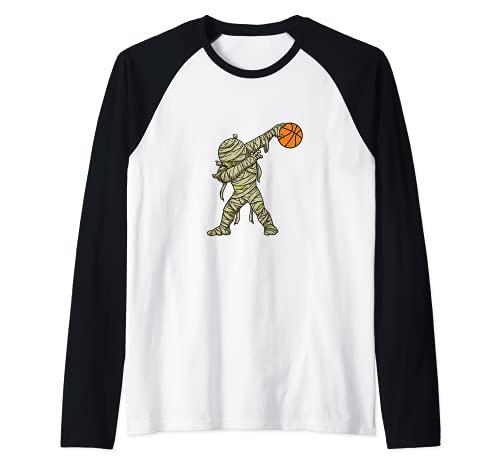 Dabbing Momia Baloncesto Divertido Disfraz De Halloween Camiseta Manga Raglan