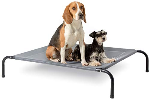 Bedsure Original Elevated Dog Cot Bed - 35/43/49 inches Large Raised Dog Cots for Large Dogs, Portable Indoor & Outdoor Pet Bed with Skid-Resistant Feet, Frame with Breathable Mesh (Grey)