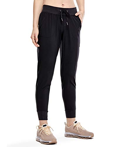 CRZ YOGA Women's Lightweight Joggers Pants with Pockets Drawstring Workout Running Pants with Elastic Waist Black XS