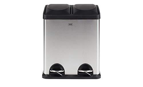 KHG Mülleimer 30l Doppel Abfallbehälter mit Tretfunktion 2x15l für Küche