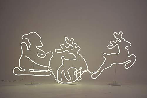 Neon Licht LED Rentiere mit Schlitten 140x52 cm - 1200 LED - Lichtschlauch Weihnachtsdeko Außen