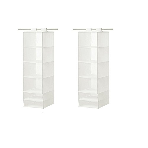 IKEA Organizer Hanging 6 Compartment Storage Closet, White (Set of 2, 13 ¾x17 ¾x49 ¼, White)