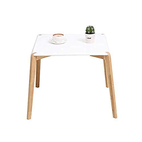 LCHENGJIN nachtkastje van hout, solide salontafel, kleine tafel, rond, slaapkamer, nachtkastje, wit (afmetingen: 20 x 19 inch) 20 × 19 pulgadas