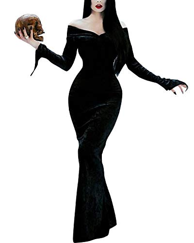 GIKING Halloween Costume Women Morticia Addams Long Sleeve Evening Gown Costume Dress Black S