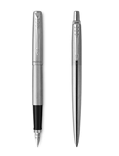 Parker Jotter - Parure con penna stilografica e sfera in acciaio inossidabile, elementi cromati