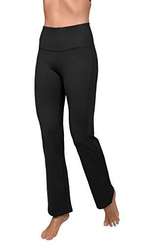 90 Degree By Reflex High Waist Boot Cut Yoga Pants with Warm Fleece Lining - Black - Medium