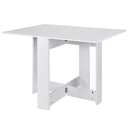 YJIIJY Tavolo da Pranzo Design Moderno Pieghevole, Tavolo da Cucina, Tavolino Esterni Richiudibile a Valigetta (Bianco)