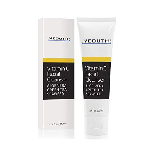 Vitamine C gezichtsreiniger doordrenkt met aloë vera, groene thee en zeewier van YEOUTH - Kalmerende, kalmerende, diep doordringende poriëngezichtswas voor een stralende huid - Geformuleerd voor alle huidtypes